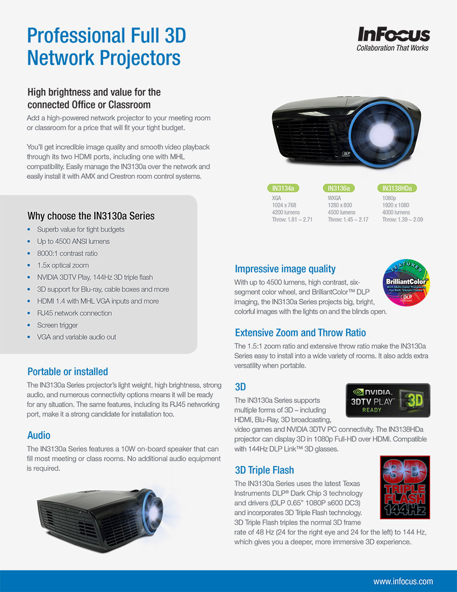 InFocus IN3134a, IN3136a and IN3138HDa network projectors